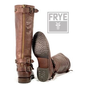 FRYE- Veronica Slouch/Buckle Brown Tall boots
